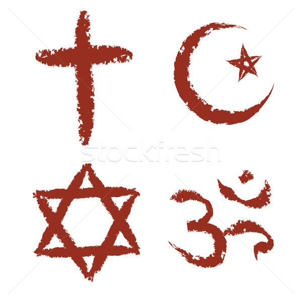 Boyalı din işaretleri Hristiyan İslamiyet yahudilik Stok fotoğraf © antkevyv