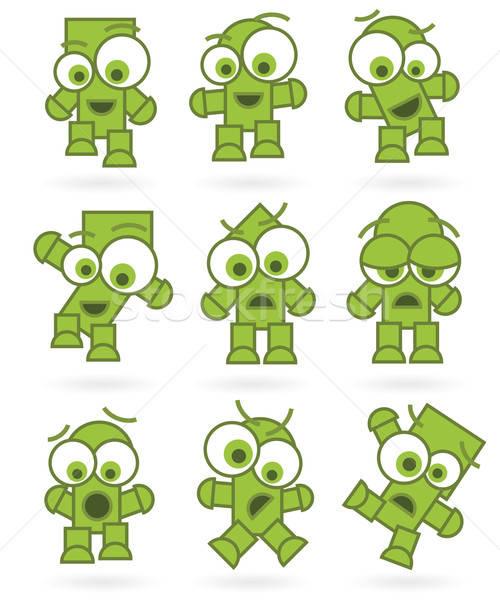 Stockfoto: Grappig · groene · cartoons · robot · monster · karakter