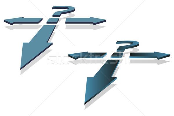 Stockfoto: Vraagteken · pijlen · besluitvorming · punt · vector · afbeelding