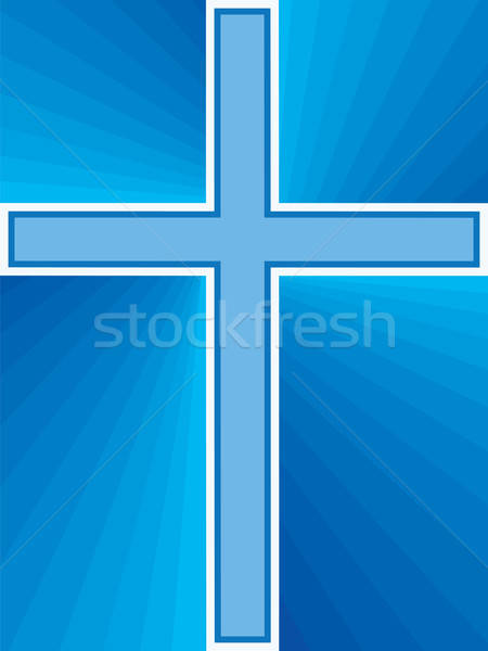 Blauw kruis abstract god godsdienst Stockfoto © antkevyv