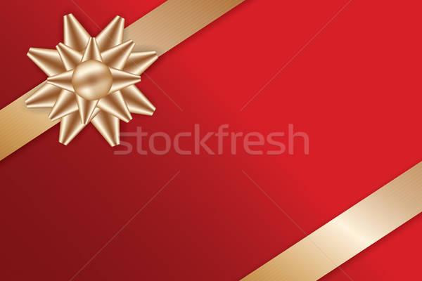 Feestelijk gouden boeg Rood wenskaart Stockfoto © antkevyv