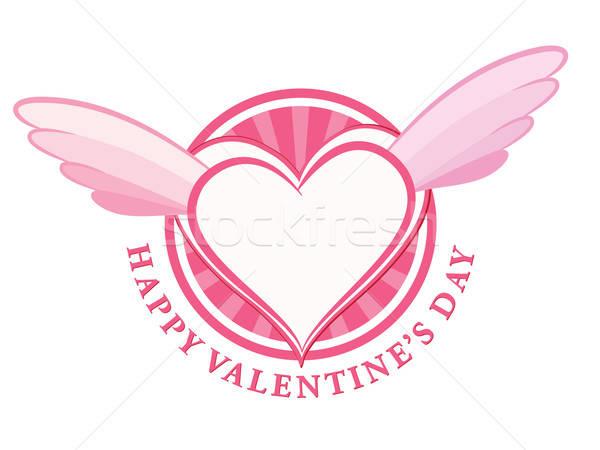 Gelukkig Valentijn dag stempel hart vleugels Stockfoto © antkevyv
