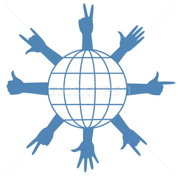 Vinger borden rond wereldbol aarde planeet Stockfoto © antkevyv