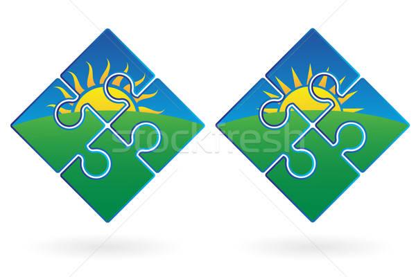 Zonsopgang illustratie zon vector afbeelding Stockfoto © antkevyv