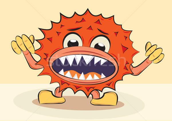 cartoon funny angry bacillus Stock photo © antkevyv
