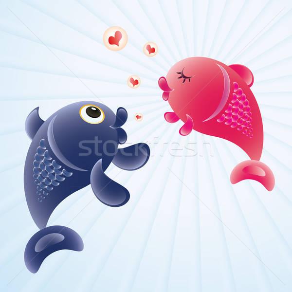 Vis liefde romantische gevoelens illustratie paar Stockfoto © antkevyv