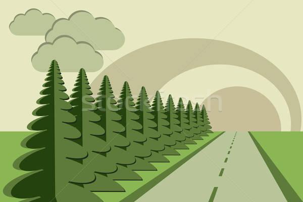 Weg bomen hemel papier zon Stockfoto © antkevyv