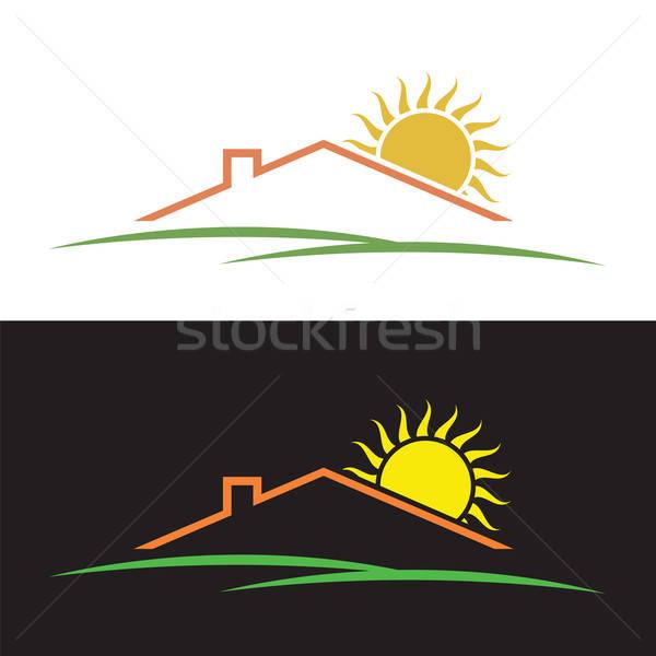 Stockfoto: Huis · zon · heuvels · silhouetten · symbolen · zonsondergang