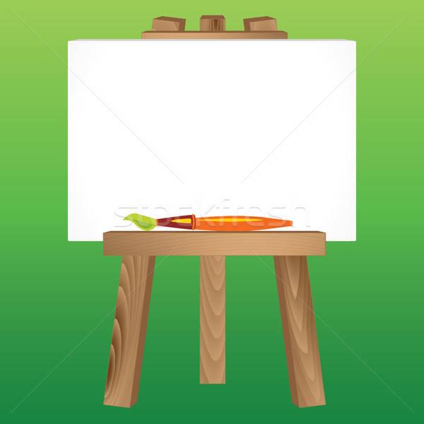 Houten schildersezel doek penseel schilderij Stockfoto © antkevyv