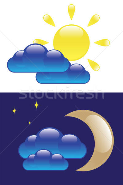Dag nacht symbolen glanzend zon wolk Stockfoto © antkevyv