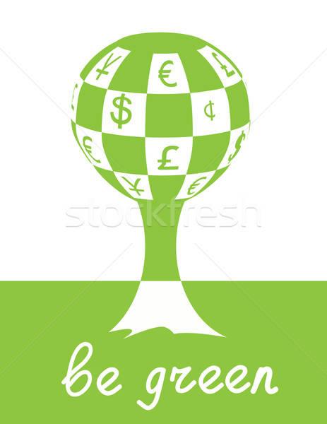 Groene boom ecologie afbeelding geld symbolen boom Stockfoto © antkevyv
