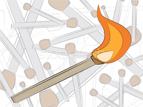Stockfoto: Wedstrijd · brand · tekening · hout · licht · cartoon