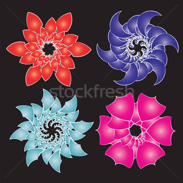 Ingesteld abstract bloemen geïsoleerd zwarte vector Stockfoto © antkevyv