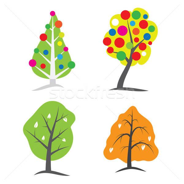Vier seizoen bomen boom symbolen Stockfoto © antkevyv