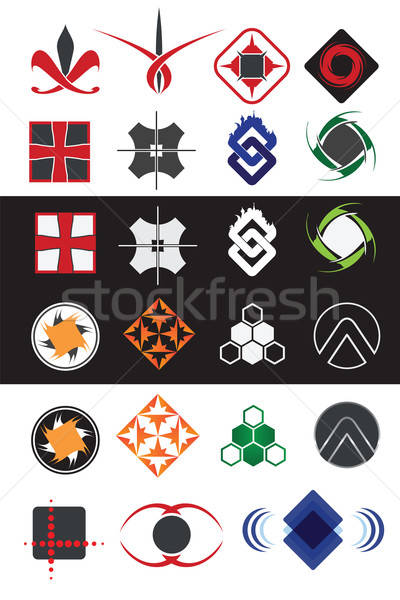 Creatieve symbolen ontwerp communie collectie web design Stockfoto © antkevyv