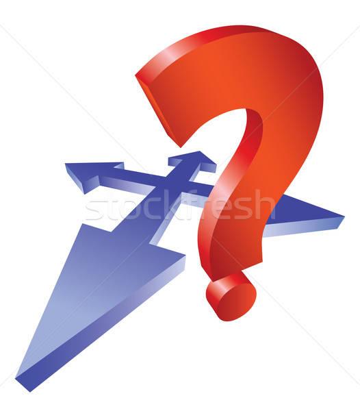 Fragezeichen arrow Kreuzung Pfeile Denken Frage Stock foto © antkevyv