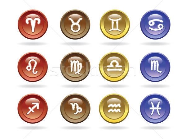 Dierenriem borden glanzend iconen teken Blauw Stockfoto © antkevyv