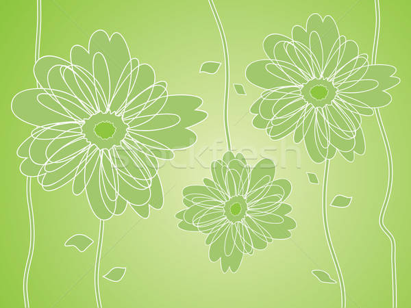 Groene bloem silhouetten voorjaar ontwerp blad Stockfoto © antkevyv