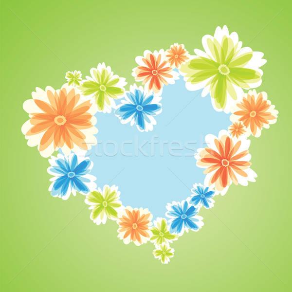 Gekleurd bloemen hart symbool groene bruiloft Stockfoto © antkevyv
