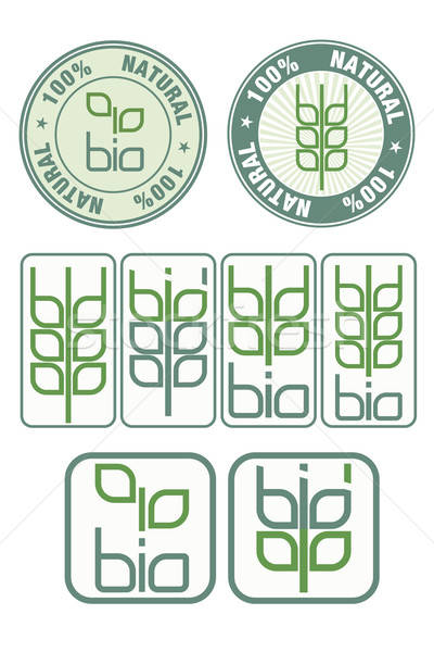 Postzegels icon bio symbool bladeren tarwe Stockfoto © antkevyv