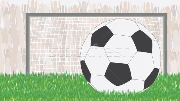 Voetbal groene veld fans doel sport Stockfoto © antkevyv
