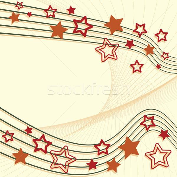 Retro star abstract lijnen retro-stijl ontwerp Stockfoto © antkevyv