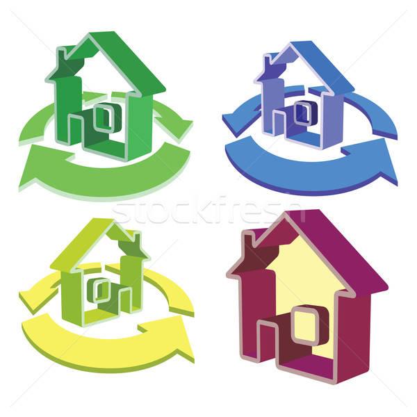 Huis pijlen iconen abstract illustratie gebouw Stockfoto © antkevyv