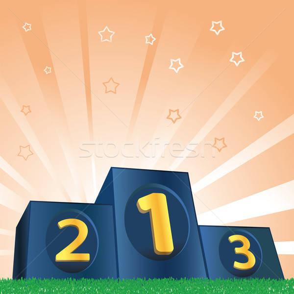 Winnaars podium groen gras gras groene Stockfoto © antkevyv