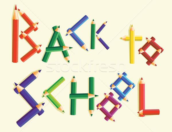 Terug naar school woorden gekleurd potloden potlood leuk Stockfoto © antkevyv