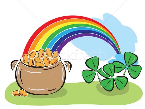 Dag pot munten regenboog klaver patroon Stockfoto © antkevyv