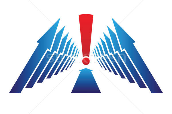Pijlen uitroepteken business Blauw Rood Stockfoto © antkevyv