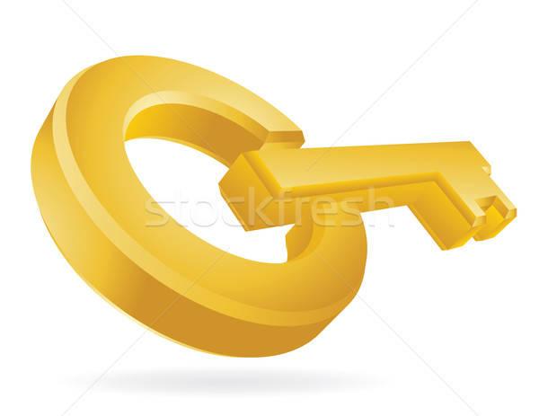Gouden sleutel abstract illustratie geïsoleerd witte Stockfoto © antkevyv