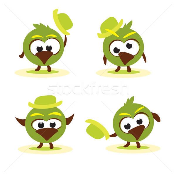 Ingesteld grappig cartoon vogels hoed kinderen Stockfoto © antkevyv