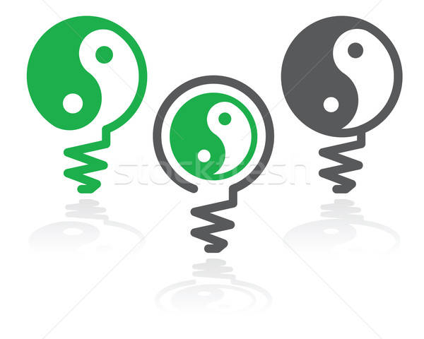 Ying-yang light bulb symbol Stock photo © antkevyv