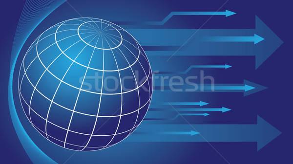 Wereldbol pijlen aarde Blauw kleur abstract Stockfoto © antkevyv