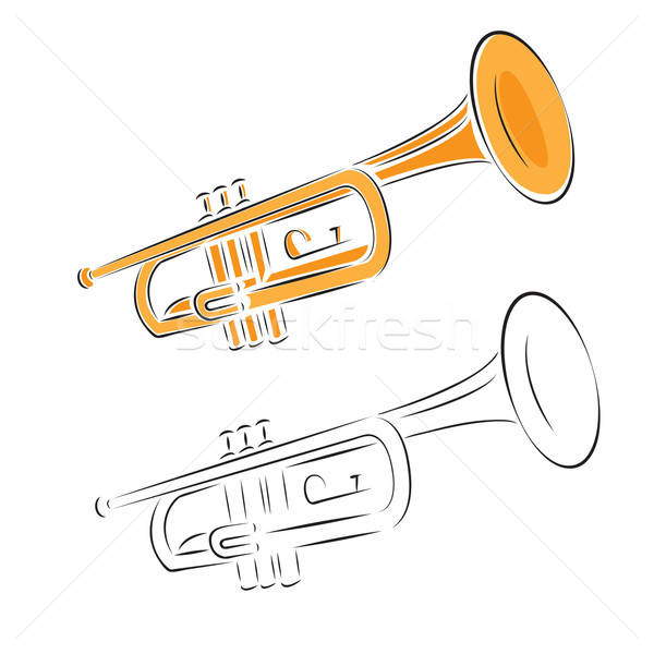 trumpet set isolated on white background Stock photo © antkevyv