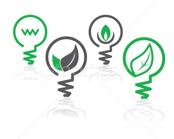 Stok fotoğraf: çevre · yeşil · ampul · simgeler · ışık