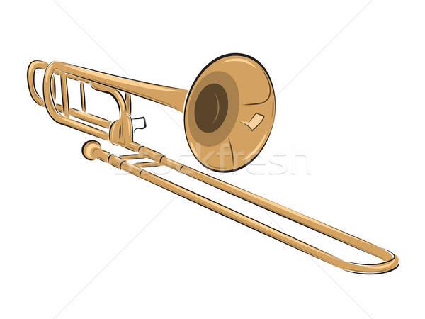 музыкальный инструмент иллюстрация изолированный белый металл золото Сток-фото © antkevyv