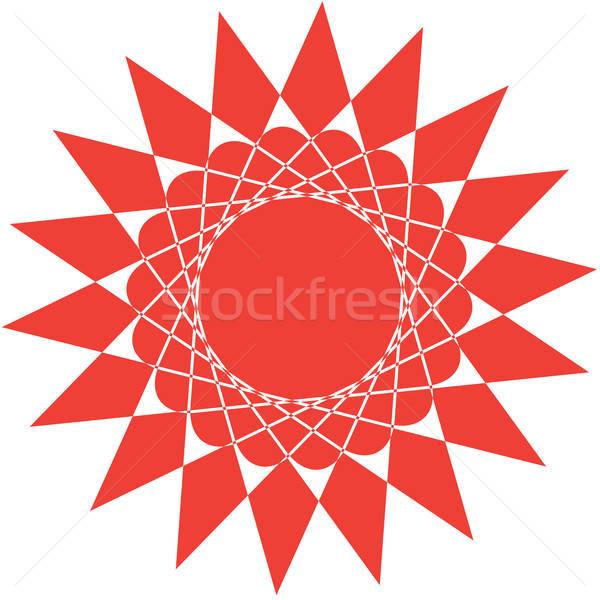 Abstract Rood zon geïsoleerd witte ontwerp Stockfoto © antkevyv