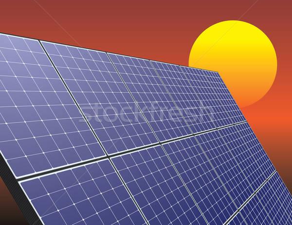 Zonne-energie paneel zonsopgang hemel innovatieve technologie Stockfoto © antkevyv