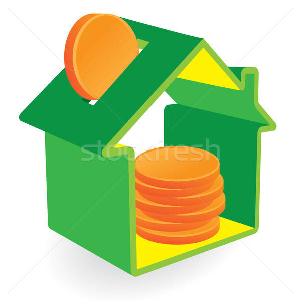 Green home moneybox with coins Stock photo © antkevyv