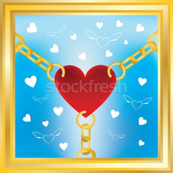 Hart gouden ketens vliegen harten Rood Stockfoto © antkevyv