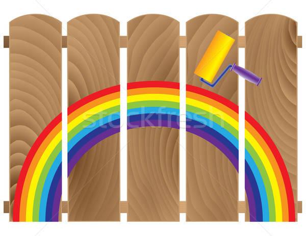 Hek geschilderd regenboog abstract illustratie textuur Stockfoto © antkevyv