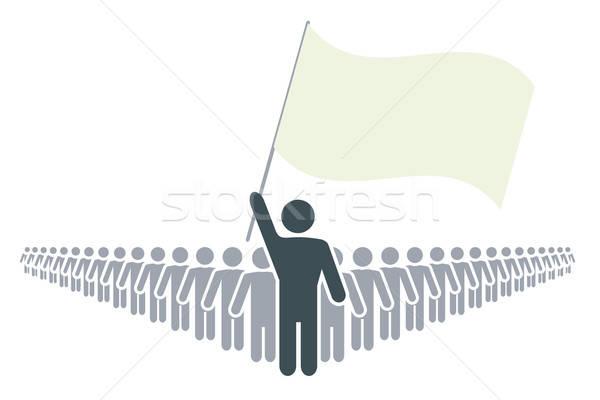 Rang emberek vezető zászló absztrakt szimbólumok Stock fotó © antkevyv