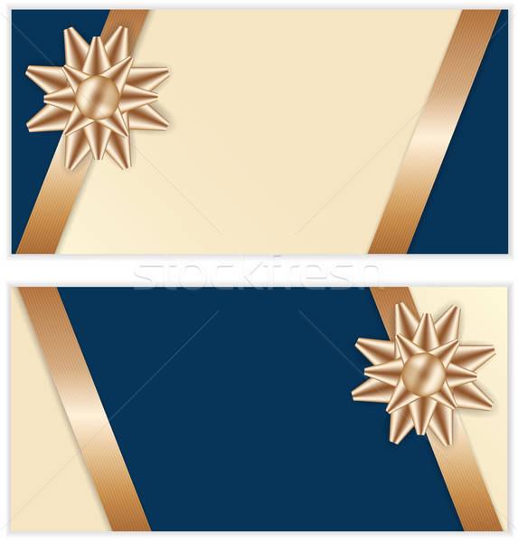 Feestelijk gouden boeg Blauw banners lint Stockfoto © antkevyv
