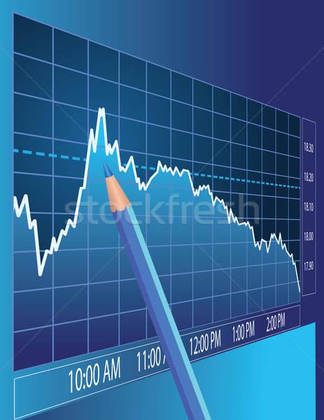 Beurs analyse financieren illustratie business potlood Stockfoto © antkevyv