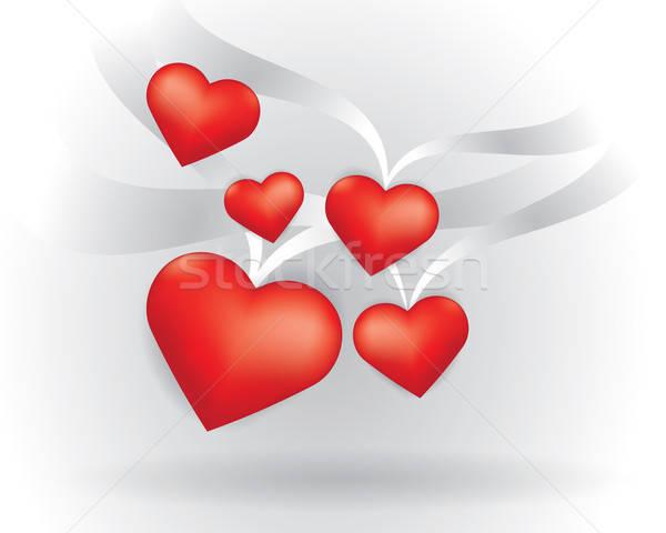 Stockfoto: Vliegen · harten · vleugels · lint · romantiek · vleugel