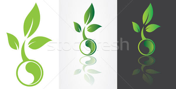 ying yang symbolism with green leaf Stock photo © antkevyv