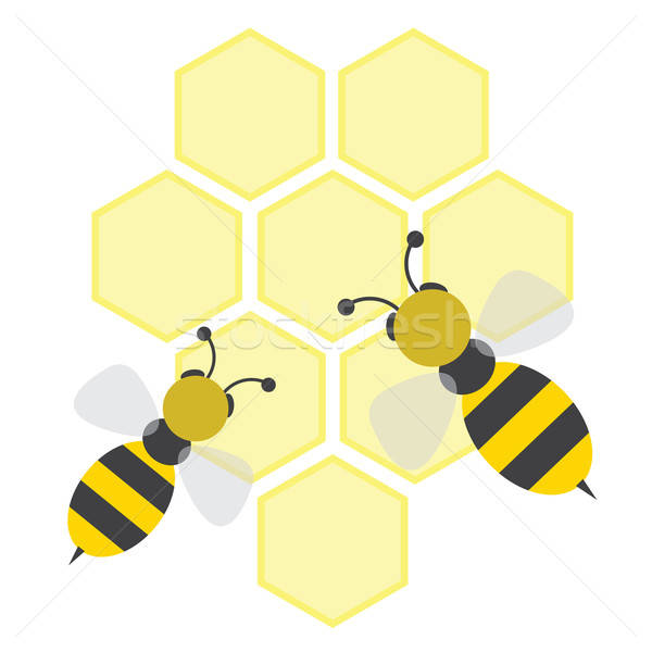 Bijen cartoon patroon cel Geel gezondheidszorg Stockfoto © antkevyv