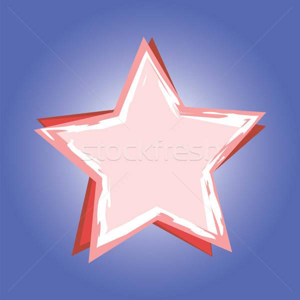 Rood star Blauw ontwerp teken icon Stockfoto © antkevyv